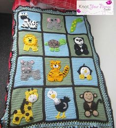Zoo Blanket: crochet animal applique patterns available for purchase