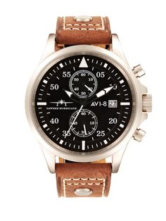 Men's Hawker Hurricane Stainless Steel Case Leather Strap Watch by AVI-8 Watches at Gilt