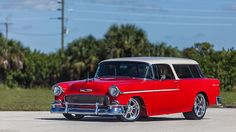 Selling at MECUM 1955 Chevrolet Nomad Resto Mod LS9/638 HP, Eckler's Platinum Award presented as lot S183 at Kissimmee, FL