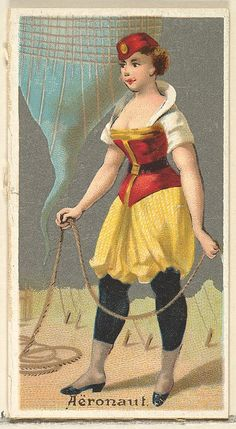 Aeronaut, from 'The Occupations for Women' series for Old Judge and Dogs Head Cigarettes 1889.