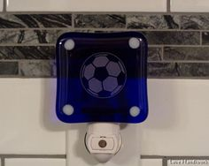This soccer ball night light is for you, or for the soccer player in your life. You are looking at ONE fused glass night light. It has soccer ball etched on it. The light bulb that came with this ki Gifts For Wife, Gifts For Her, Bottle Slumping, Soccer Ball, Fused Glass, Night Light, Light Bulb, I Shop, Etsy Shop