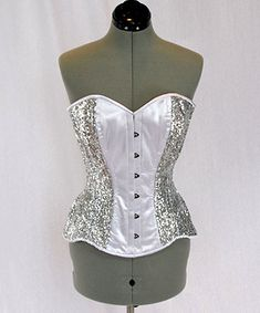 Shiny siquins  and satin overbust authentic corset by Corsettery