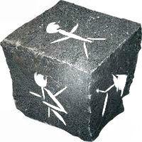 Kocka na žrebovanie výhercu z doby kamennej.