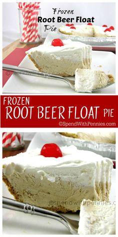 Frozen Root Beer Float Pie!  This easy pie is a summertime favorite!