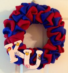 Rock Chalk Kansas Jayhawks Burlap Wreath via Etsy
