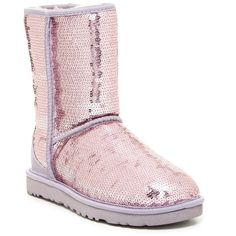UGG Australia Classic Short Sparkle Boot ($130) ❤ liked on Polyvore featuring shoes, boots, ankle booties, ankle boots, hllc, round toe booties, sparkle boots, sequin booties, short booties and round toe boots