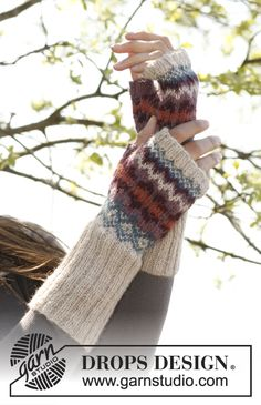 "Knitted DROPS hat, neck warmer and wrist warmers with Norwegian pattern in ""Alpaca"". ~ DROPS Design"