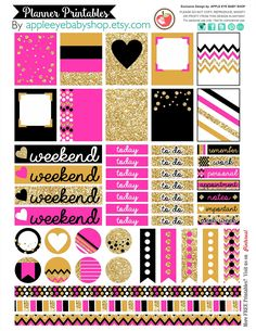 https://flic.kr/p/KAu7Y5 | Planner Printables Labels Tags - Pink Black Gold | My ETSY Shop:  www.etsy.com/shop/appleeyebabyshop  INSTAGRAM @appleeyebabyshop www.instagram.com/appleeyebabyshop/
