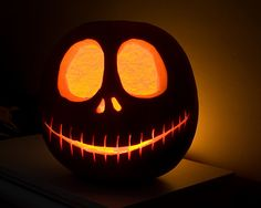 jack-skellington-o-lantern - did this last Halloween on a white pumpkin, so cool Halloween Pumpkin Carving Stencils, Halloween Pumpkin Designs, Easy Pumpkin Carving, Scary Pumpkin, Halloween Jack, Holidays Halloween, Halloween Pumpkins, Halloween Crafts, Pumpkin Ideas