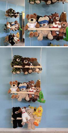 New toys organization ideas small spaces diy crafts 17 ideas Diy Toy Storage, Storage Ideas, Stuffed Animal Storage, Stuffed Animals, Ideas Para Organizar, Small Space Storage, Diy Hanging, Hanging Storage, Toy Organization
