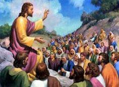 Jezus vertelt een verhaal tegen de 5000 mensen.