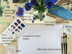 Setting up a Reggio-inspired Painting Activity at Home   An Everyday Story  Gotta love this provocation...paint+paint chips+different sized brushes+flowers on a mirror base to increase light!