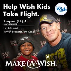 Make-A-Wish needs 2.5 billion air miles per year to grant wishes involving travel. This April, @WWE Superstar and wish granter John Cena will match every air mile you donate, up to 4.5 million. Visit http://sf.wish.org/million-mile-monday/ today to donate air miles or dollars and help wish kids take flight.