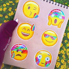 Emojis (Drawing by Floating_Colour Emoji Drawings, Disney Drawings, Cute Drawings, Hamtaro, Social Media Art, Cute Emoji, Smileys, Art Sketches, Wallpaper