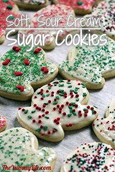 Sour Cream Sugar Cookies Soft, Sour Cream Cut-Out Sugar Cookies. These are simply the best! A signature family recipe for years.Soft, Sour Cream Cut-Out Sugar Cookies. These are simply the best! A signature family recipe for years. Sour Cream Sugar Cookies, Best Sugar Cookies, Sugar Cookies Recipe, Cream And Sugar, Holiday Cookies, Holiday Treats, Holiday Recipes, Cookie Recipes, Christmas Cut Out Cookies