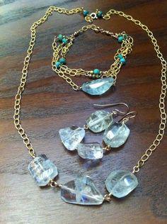 Aquamarine and turquoise earring, necklace, and bracelet set