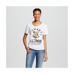 Women's Hogwarts Alumni Graphic Tee White - Harry Potter, Size: ($15) ❤ liked on Polyvore featuring tops, t-shirts, white, graphic design t shirts, pattern shirt, white top, print t shirts and graphic design shirts