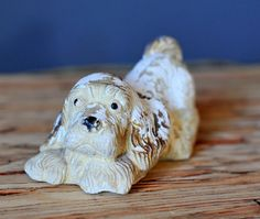 Vintage Chalkware Puppy Dog White and Tan Chippy by SeedWerks, $12.00