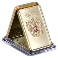Wish | 24K Gold Bullion Bar USSR National Emblem Gold Bar Soviet Commemorative Souvenir Coin Metal Decoration Gifts (Size: 44mm*28mm*3mm, Color: Gold)
