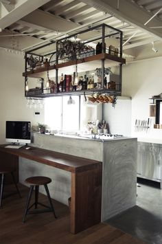 Optional kitchen shelf over island for our kitchen Loft Kitchen, Kitchen Shelves, Kitchen Interior, Kitchen Storage, New Kitchen, Kitchen Decor, Kitchen Rack, Kitchen Island, Cool Kitchens