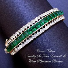 1950s Trifari Alfred Philippe Gold Plated Invisibly Set Faux Emerald and Diamond Bracelet by AntiquingOnLine SOLD at https://www.etsy.com/listing/207646388/crown-trifari-alfred-philippe-invisibly