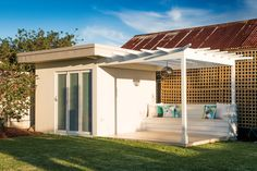 Outdoor room with an adjoining pergola | At home with Chris and Rebecca | Home Ideas magazine