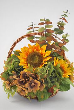 Sunflower Round Fall Basket Silk Floral Arrangement by ChicFlowers, $73.77