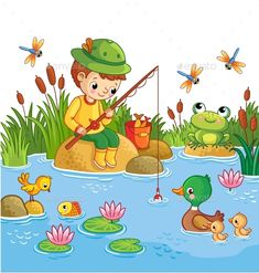 Buy The Boy Sits on a Rock. The boy sits on a rock and catches fish in a pond. Vector illustration of a cartoon childlike style with a lake and d. Art Drawings For Kids, Drawing For Kids, Easy Drawings, Art For Kids, Kids Background, Cartoon Background, Boy Cartoon Drawing, Cartoon Sea Animals, Safari Decorations