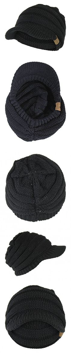 Black Cable Ribbed Knit Beanie Hat w/ Visor Brim - Chunky Winter Skully Cap