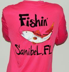 UPF 50 Dri Fit Long Sleeve Performance Shirt: Fishin' Sanibel, FL Redfish