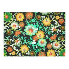 Beautiful Vintage European Floral Pattern Cotton Linen Tablecloth 60