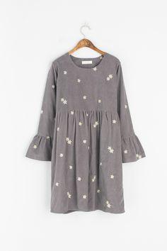 Corduroy Flower Embroidered Dress, Grey