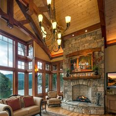 Mountain Lake Home constructed by Harmony Timberworks of Boone NC.