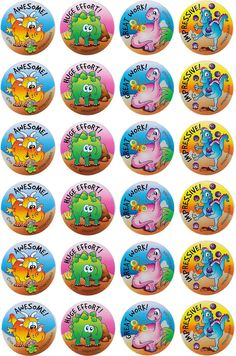 Dinosaurs Merit Stickers - Australian Teaching Aids - 96 brightly coloured dinosaurs stickers to reward or decorate.