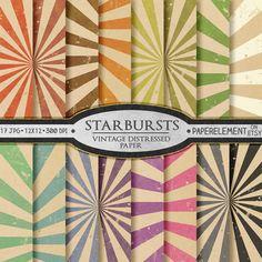 Starburst Digital Paper: Sunburst Digital Paper by PaperElement