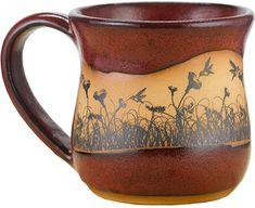 AmazonSmile | Hummingbirdscape 14 Oz. Mug in Real Red glaze: Coffee Cups & Mugs Ceramic Coffee Cups, Stoneware Mugs, Mug Tree, Gifts In A Mug, Gift Mugs, Best Coffee Mugs, Cool Mugs, Gold Flowers, Moscow Mule Mugs