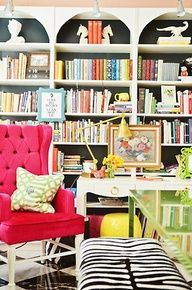 hot pink chair & books