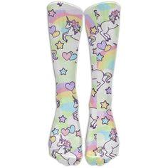 Amazon.com : Unicorn Rainbow Emoji Kawaii Sports Long Dress Socks High... ❤ liked on Polyvore featuring intimates, hosiery, socks, rainbow socks, unicorn socks, sport socks and sports socks