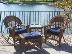 Outdoor Wicker Patio Set with 2 Chairs, Ottoman, Table, in Brown, Plus Navy Sunbrella Cushions by Wicker Paradise. $859.00. Each chair measures: 30 inches wide, 28 inches deep, 37 inches high. Ottoman is 29 inches wide, 17 inches deep, 18 inches high. End Table is 19 inches square by 20 inches high.. NO ASSEMBLY NEEDED, JUST REMOVE BOXES & ENJOY!. All-outdoor, all-season wicker made of resin on aluminum so you can use anywhere. Check out storefront for other combinations of...