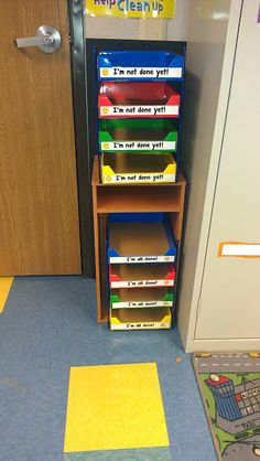 this has a ton of cute ideas! i like the idea of having a place for unfinished work that isn't the child's cubby where it just gets lost