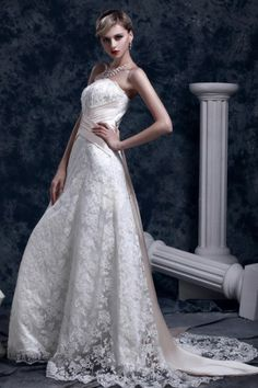 REGISTER ON PERSUNMALL.COM Luxurious Slight A-Line Strapless Lace Ankle-Length Church Bridal Gown