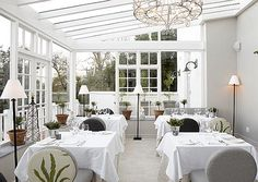 Relais & Chateaux - Set in nearly 9.5 acres of world renowned gardens, this historic and beautiful country escape in the city offers guests far more than just incomparable scenery.The Greenhouse Restaurant in The Cellars #relaischateaux #~white #restaurant