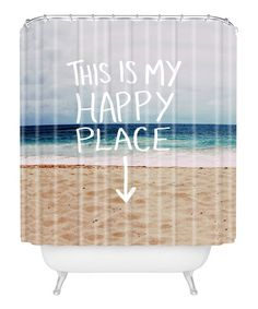 Another great find on #zulily! Leah Flores 'Happy Place' Beach Shower Curtain #zulilyfinds
