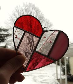 Handmade Valentine's Day Stained Glass Valentine by GlassPlay on Etsy, $29.95