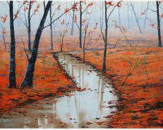Bedroom Decor Autumn Oil Painting On Canvas By par AfremovArtStudio
