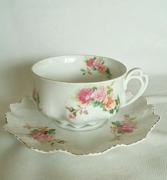 Antique Tea cup and Saucer Moritz Zdekauer MZ 1850-1899 #MoritzZdekauer
