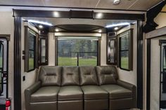 """In the meantime, we are feasting our eyes on the Edge 357 #toyhauler with its high end Milano cabinetry, solid surface countertops, 58"""" LCD flat screen TV, 1.5 baths, interior LED lighting package and much more! #HeartlandRVs   #Edge 357: http://www.heartlandrvs.com/brands/toyhaulers/edge/ed-357"""