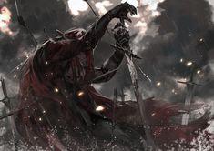 Konachan.com - 180486 alcd all_male armor blood cape dark long_hair male pixiv_fantasia rain red_hair sword water weapon.jpg (2093×1480)