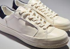 Pantofola d Oro Hex Court Vitello/Cavallino/Vitello Bianco/Blu/Bianco - Pantofola d Oro Club House Low Suede Nero - Womens Shoes - White/Blue/White