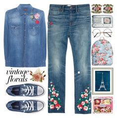 """""""Smell the Roses:Vintage Florals"""" by grozdana-v ❤ liked on Polyvore featuring 7 For All Mankind, Madewell, Heathcote & Ivory, Vintage Print Gallery, ZeroUV, Converse, vintage and vintageflorals"""